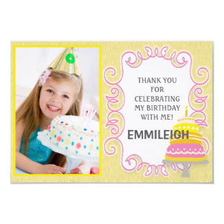 Yellow Pink Birthday Cake Thank You Card