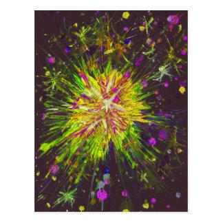 Yellow, pink & black abstract art starburst design postcard