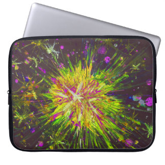 Yellow Pink Black Star Abstract Art Painting Laptop Sleeve