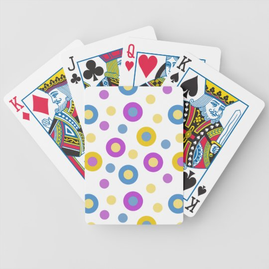 Yellow Pink Blue Circles pattern Bicycle Playing Cards