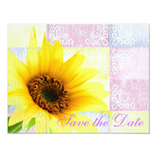 Yellow Pink Country Floral Sunflower Purple Bride 4.25x5.5 Paper Invitation Card