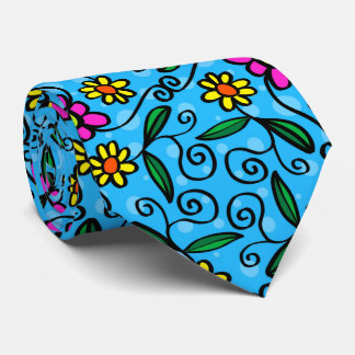 Yellow pink daisies, flowers with blue background tie
