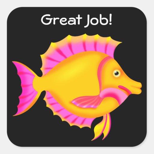 Yellow Pink Fish Square Sticker