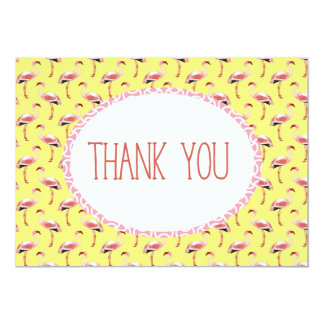 Yellow Pink Flamingo Tropical Summer thank you Card