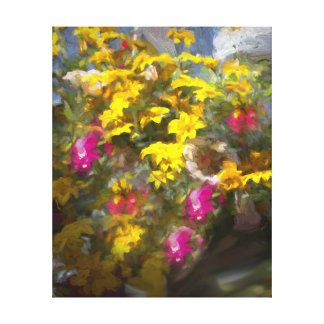 Yellow pink Flowers Oil Painting,Canvas Prints Stretched Canvas Print