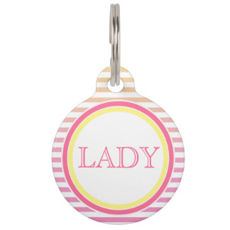 Yellow Pink Gradient Stripe | Personalized Pet Tag