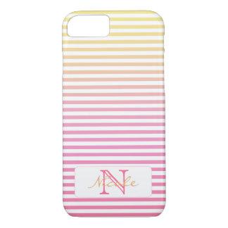 Yellow Pink Gradient Stripes Monogram iPhone 8/7 Case