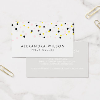 Yellow, Pink, Gray and Black Confetti Dots Modern Business Card