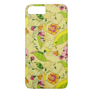 Yellow Pink & Green Art-Deco Floral Design iPhone 7 Plus Case
