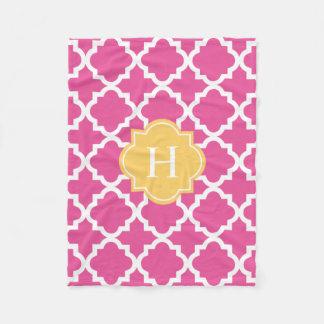 Yellow & Pink Monogram   Fleece Blanket