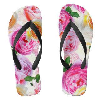 Yellow,Pink Pair of Flip Flops