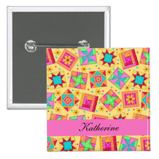 Yellow Pink Patchwork Quilt Blocks Name Badge