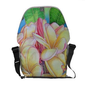 Yellow Pink Plumeria Messenger Bags