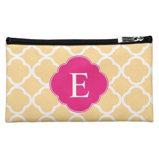 Yellow Pink Quatrefoil Monogram Makeup Bag