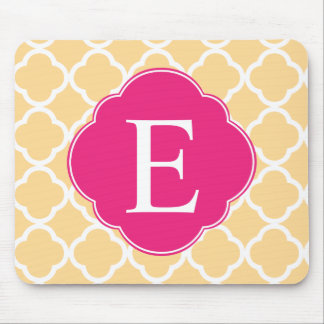 Yellow Pink Quatrefoil Monogram Mouse Mat