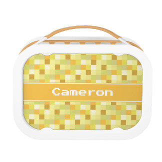 Yellow Pixelated Pattern   Personalized Lunchboxes