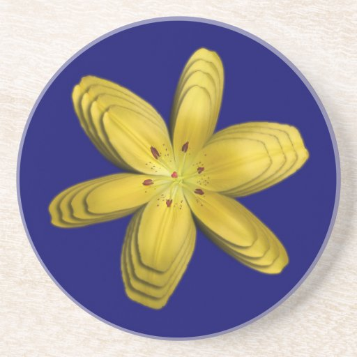 Yellow Pixie Lily Abstract Coaster