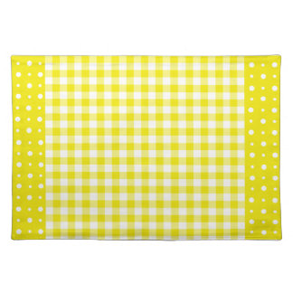 Yellow Placemat, Check Gingham and Polka Dots Placemat