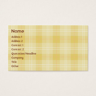 Yellow Plaid - Business Business Card