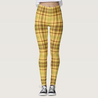 Yellow Plaid Fabric Pattern Leggings