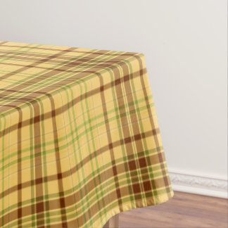 Yellow Plaid Fabric Pattern Tablecloth