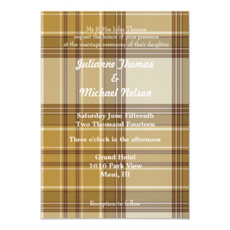 "Yellow Plaid 5"" X 7"" Invitation Card"