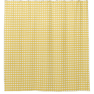 Yellow Plaid Shower Curtain
