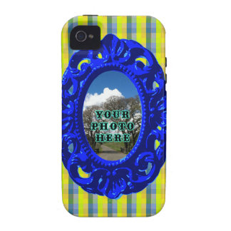 Yellow Plaid with Blue Frame iPhone 4/4S Cover