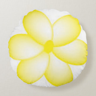 Yellow Plumeria Flower Round Pouf Pillow