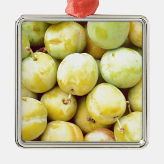 Yellow plums macro Silver-Colored square decoration