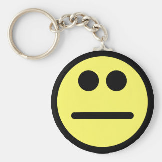 Yellow Poker Face Stare Smiley Face Key Chains