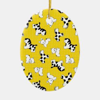 Yellow Polka Dot Baby Animals Christmas Ornaments