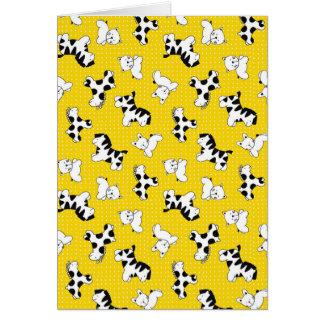 Yellow Polka Dot Baby Animals Greeting Card