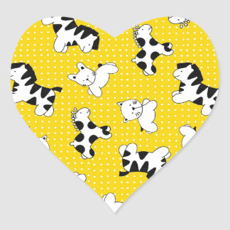 Yellow Polka Dot Baby Animals Heart Stickers