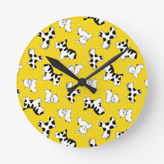 Yellow Polka Dot Baby Animals Round Wallclock