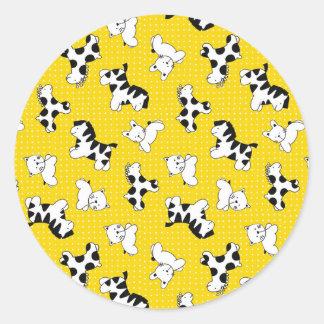 Yellow Polka Dot Baby Animals Sticker