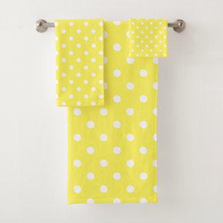 Yellow Polka Dot Bath Towel Set