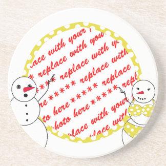 Yellow Polka Dot Bikini Time Snowmen Photo Frame Coaster