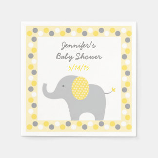Yellow Polka Dot Elephant Baby Shower Disposable Serviette