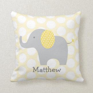Yellow Polka Dot Elephant Nursery Throw Pillow