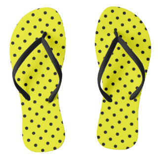 Yellow polka dot flip flops