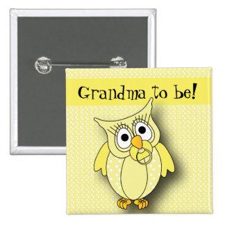 Yellow Polka Dot Owl Baby Shower Theme 15 Cm Square Badge