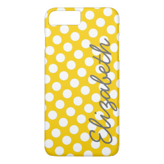 Yellow Polka Dot Pattern with Gray Name iPhone 8 Plus/7 Plus Case