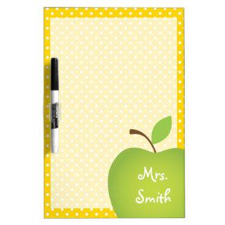Yellow Polka Dot Teacher's Green Apple Dry Erase Board