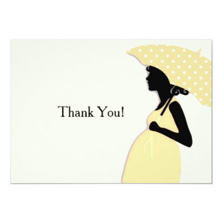 Yellow Polka Dot Umbrella Thank You Notecard 13 Cm X 18 Cm Invitation Card