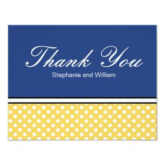 Yellow Polka Dot With Blue Wedding Thank You Card 11 Cm X 14 Cm Invitation Card