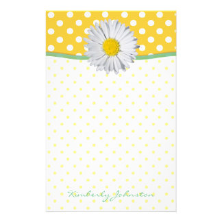 Yellow Polka Dots and Daisy Stationery