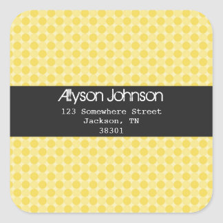 Yellow Polka Dots  Background Address Labels Square Sticker