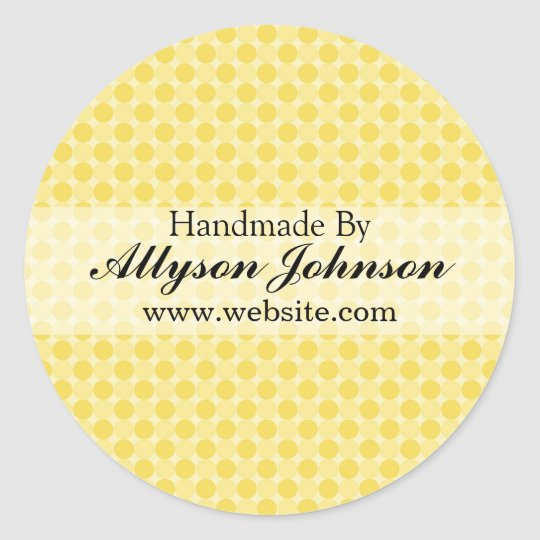 Yellow Polka Dots  Background Handmade By Stickers