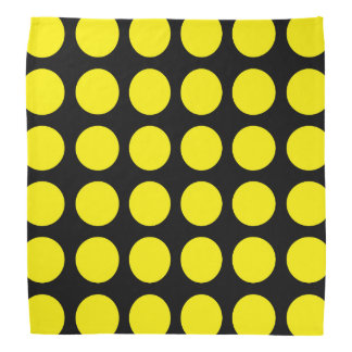Yellow Polka Dots Black Bandana